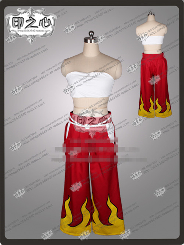 Anime Fairy Tail Elza Scarlet Fashion Uniform Red Kimon Cosplay Costume Tube Tops+Leggings+Kimon O