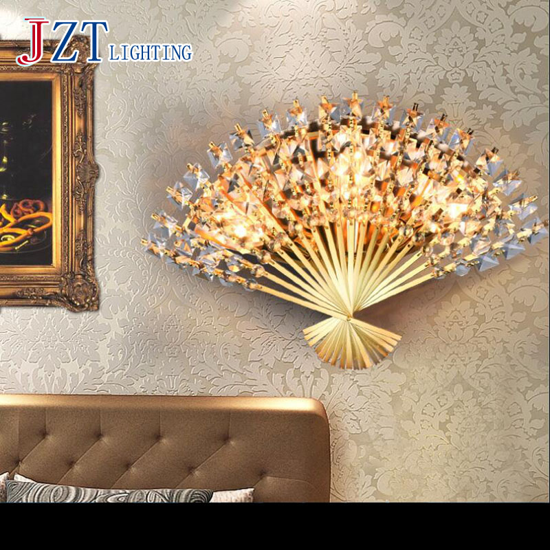 T New Modern Creative Crystal Wall Lamps Fan Fashion Home Lighting For Corridor Bedroom Living Room Gold&Silver Lxury DHL Free