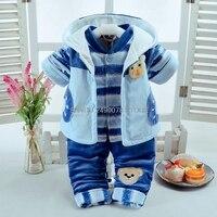 Newborn Flannel Clothes set Baby Boys Jumpsuit Girls Thicken Warm Rompers Kids Infant Pajamas Plus velvet Coat+shirt+ pants 3pcs