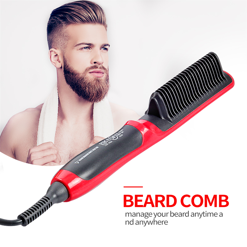 Men Beard Straightener Brush Hair Flat Iron Comb Electric Beard Straightening Comb Hair Straightener Hair Styler For Men