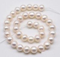 AA 11 12MM Large Pearls,White Near Round Cultured Freshwater Pearls For Making Jewellery Loose Beads,One Full Strand