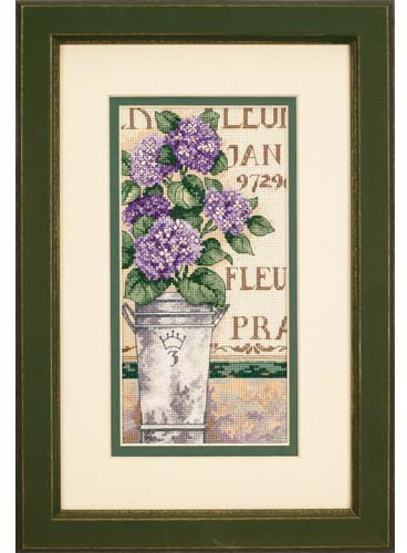 Gold Collection Lovely Counted Cross Stitch Kit Hydrangea Floral Purple Flower Flowers Plant Dim 65092