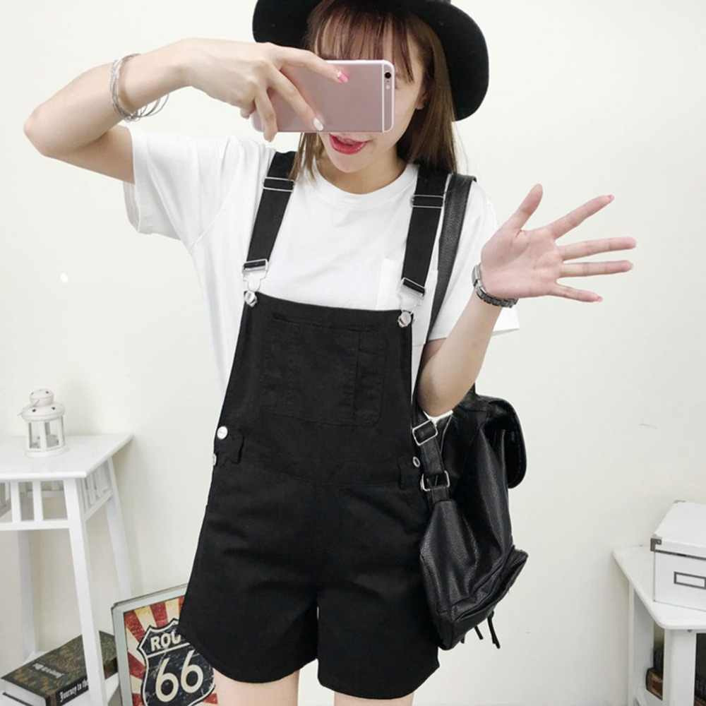 6760683d58 New Korean Style Summer Women Denim Jeans Solid Color Lovely Design Lady  Female Loose Suspender Trousers