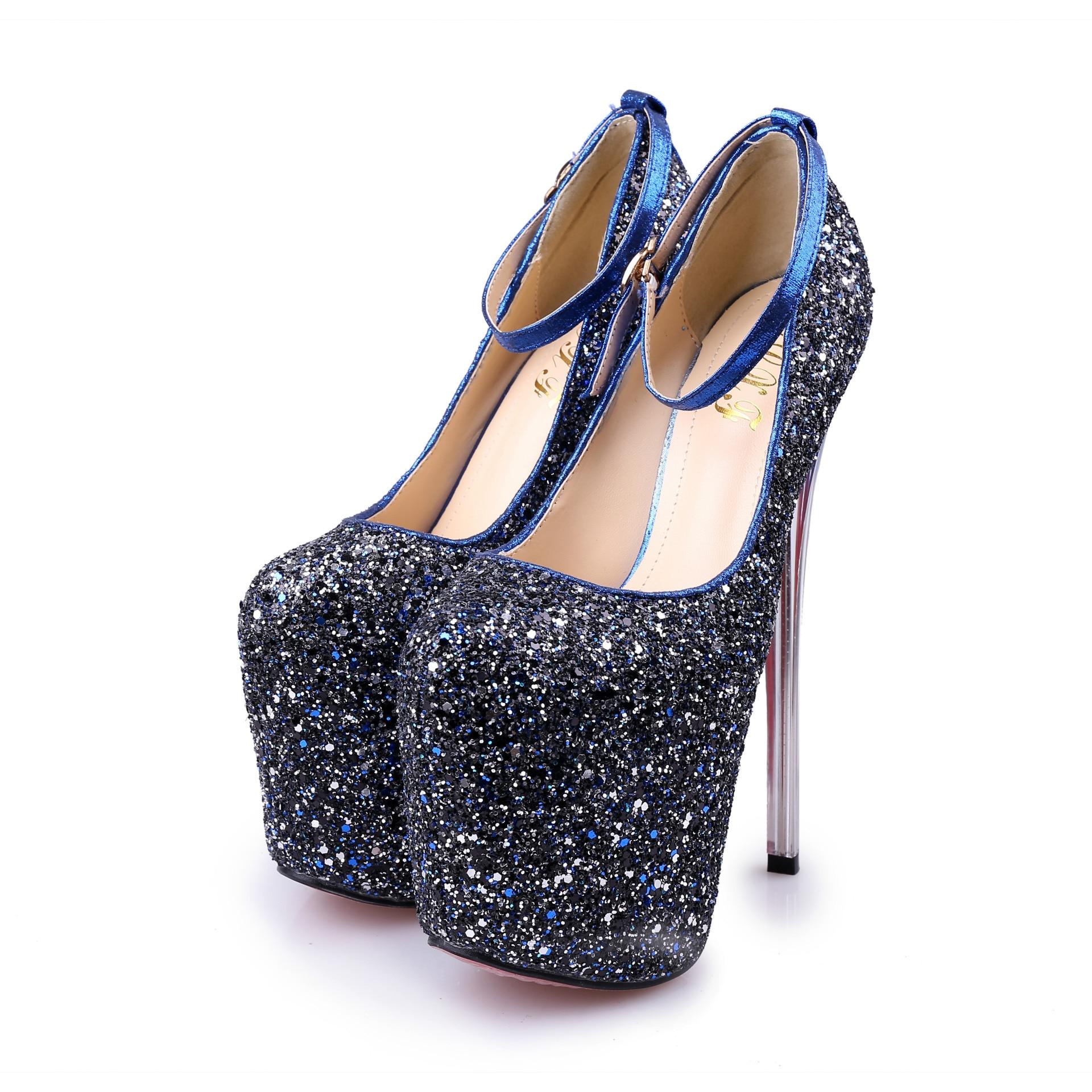 Grande 20 Stiletto Bouche Poadisfoo Chaussures Profonde 12d Blue Peu gold 6678 Mètres Discothèque Paillettes Déteste Mjl Haute 43 Taille T Cm chaussures SfWA0BW
