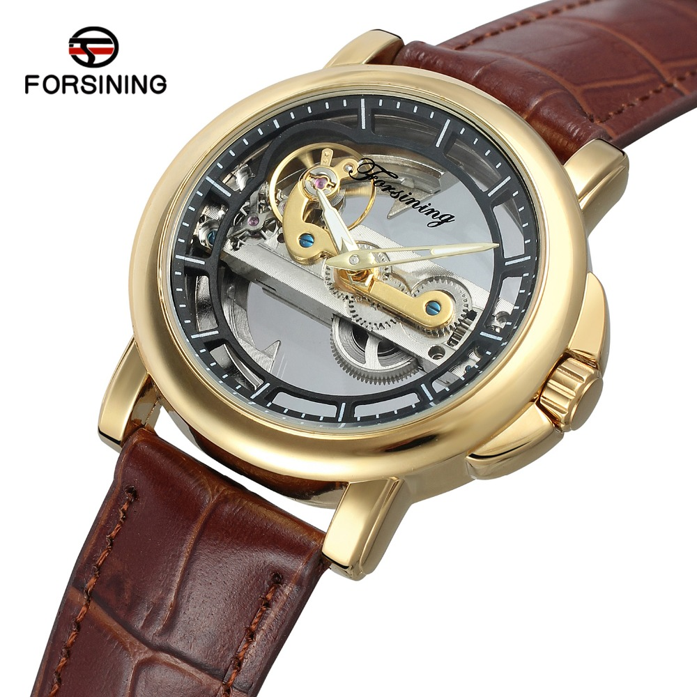 Hollow Out Dial Watches Luxury Brand Men's Automatic Mechanical Watch Fashion Casual Genuine Leather Band Wristwatch binger genuine gold automatic mechanical watches female form women dress fashion casual brand luxury wristwatch original box