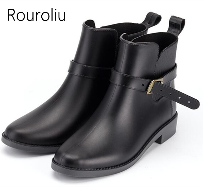 Rouroliu Women Autumn Ankle Rain Boots PVC Waterproof Water Shoes Woman Non-Slip Buckle Wellies RB71