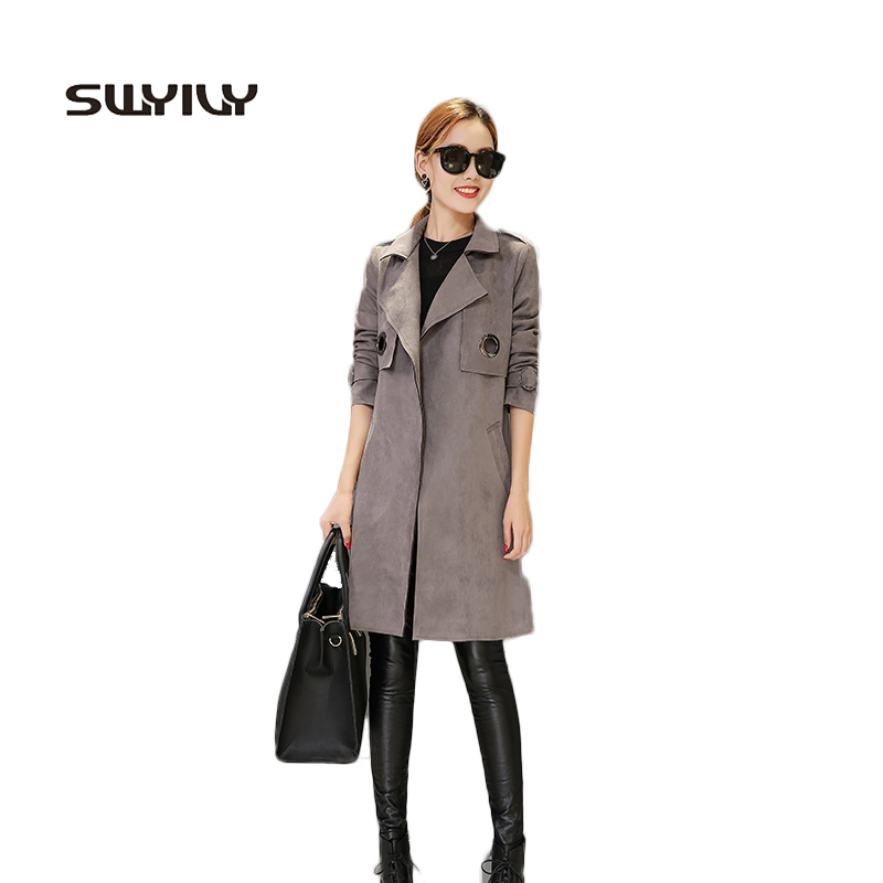 Long Retro Womens   Suede     Leather   Jacket Temperament Metal Ring Outana Coat Fashion 2017 Autumn And Winter Good Quality