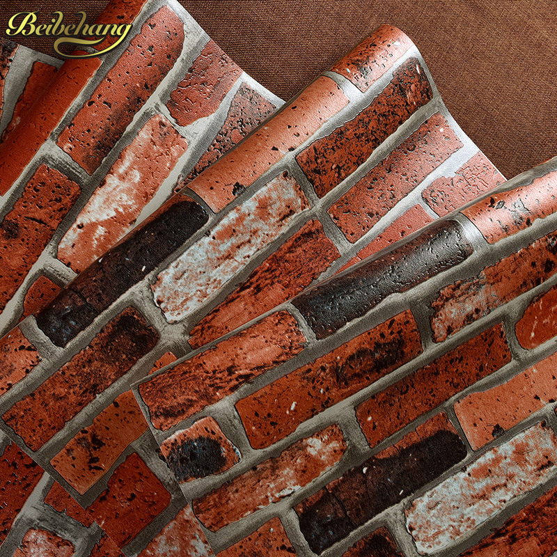 beibehang home decor Red brick Vintage brick wallpaper roll stone brick home background decor papel de parede 3d wall paper hot free shipping 10 square meter floor heating films thermostats clamps piler black tape insulating daub 0 5m 20m 220vac