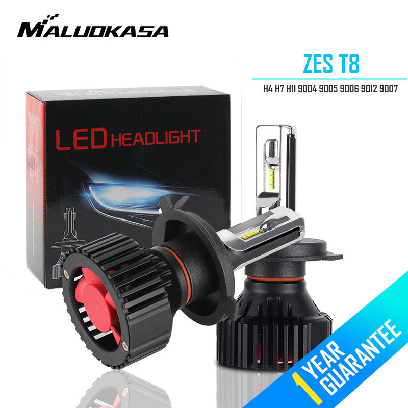MALUOKASA T8 H4 Car LED Headlight Bulbs 60W 8000LM ZES Chips All In One H4 High