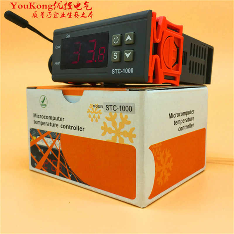 YOUKONG Two Relay Output LED Digital Temperature Controller Thermostat  Incubator STC - 1000 110V 220V 10A with Heater and Cooler