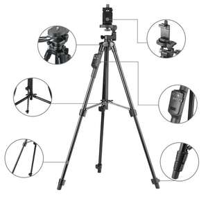 YUNTENG Aluminum Tripod with 3-Way Head & Bluetooth Remote for Camera Phone