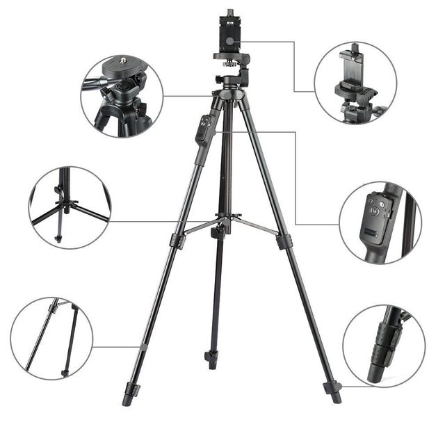 YUNTENG 5208 Aluminum Tripod with 3-Way Head & Bluetooth Remote + clip for Camera Phone