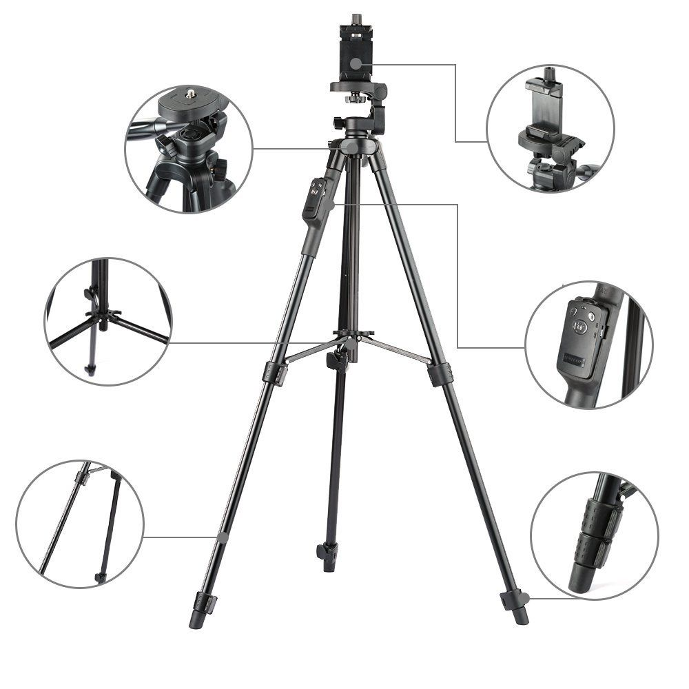 YUNTENG 5208 Aluminum Tripod with 3 Way Head & Bluetooth Remote + clip for Camera Phone