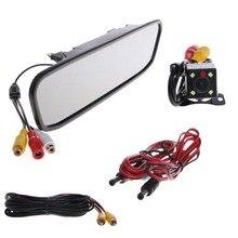 4.3 дюймов автомобиля Зеркало заднего вида Мониторы Камера CCD Видео Auto 4 светодиодных Реверсивный may22_30