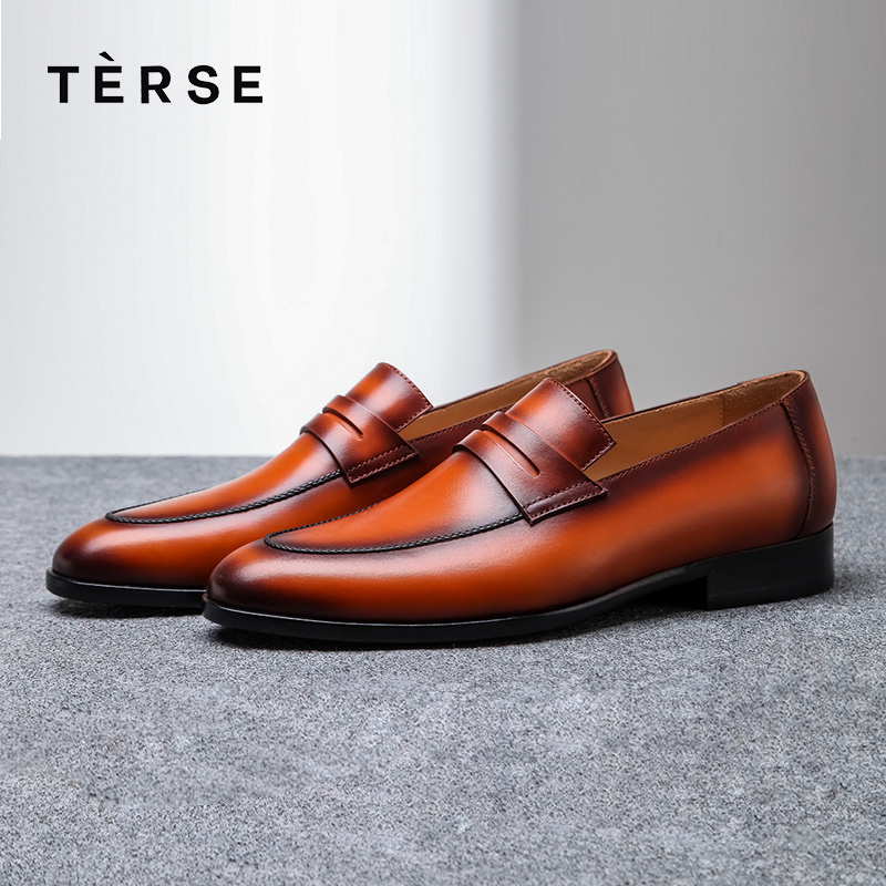 TERSE Genuine Leather shoes Men`s luxury handmade dress shoes flat office shoes Italian calfskin genuine formal shoes 1515-15 terse new men s shoes handmade genuine leather dress casual shoes with tassel fashion luxury shoes high quality 2 color 15770 20