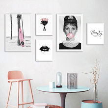 Home Decor Canvas Painting Nordic Audrey Hepburn Bubble Black White Picture Fashion Modern Print Poster For Living Room Wall Art(China)
