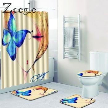 Zeegle 4Pcs Bathroom Mat Set 3D Printed Flannel Floor Rugs Cushion Toilet Seat Cover Bath Mat for Home Decoration Carpet