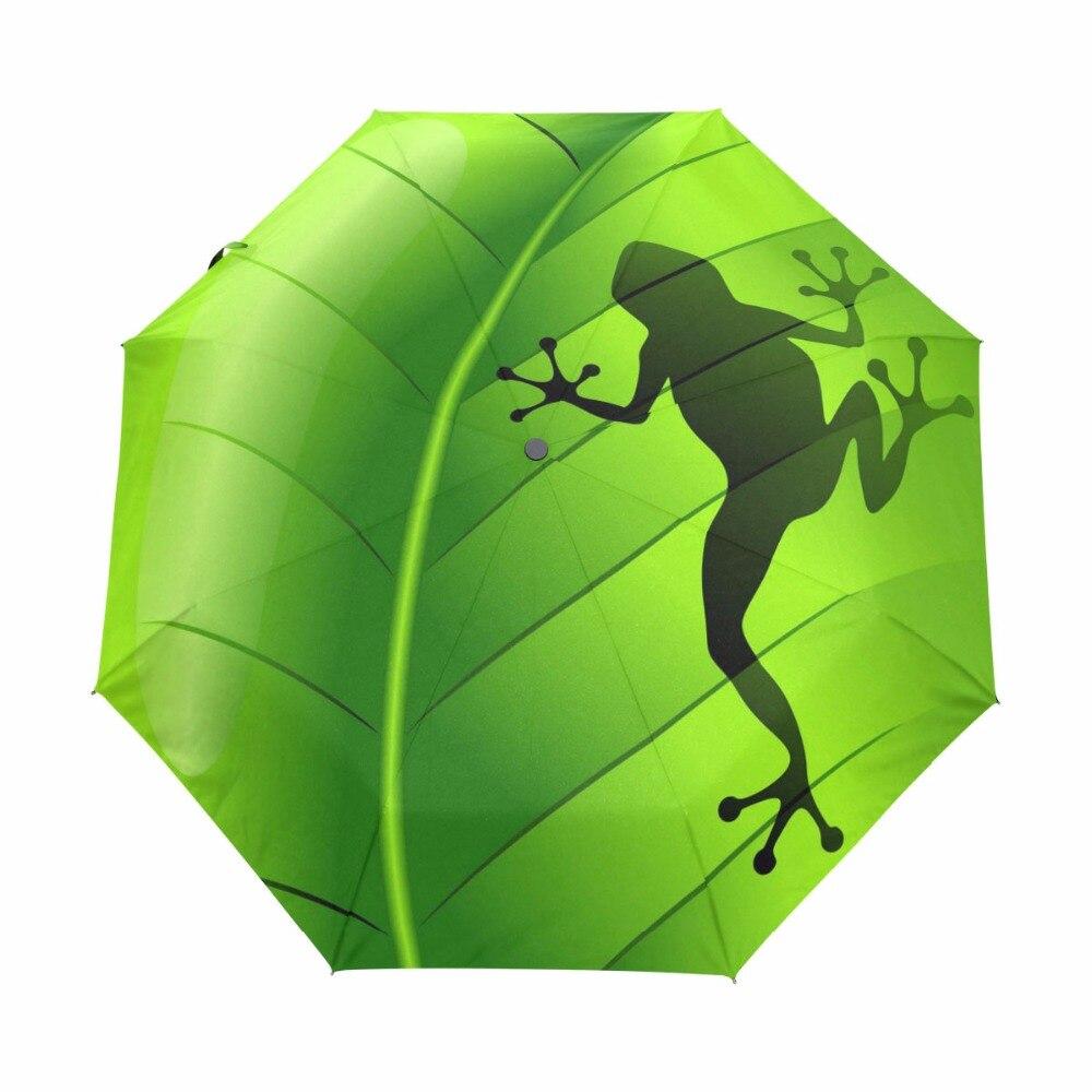 2018 nouveau créatif grenouille enfants parapluie trois pliant vert parapluie pluie femmes crème solaire Anti UV marque parapluie 20 pièces