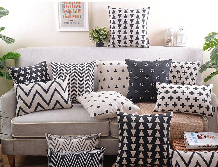 "18"" Black White Geometric Cotton Linen Cushion Cover Ikea Sofa"