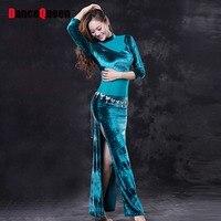 Gypsy Belly Dance Costume 2Piece(Dress&Free Leggings) Velvet Set Stage Professional Bollywood India Dress Spanish Dance Skirt