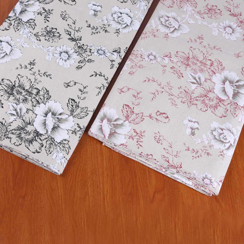 Pivoine imprimé coton et lin tissu au mètre bricolage canapé oreiller fenêtre rideau tissu pour la décoration de la maison