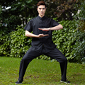 Summer Black Chinese Men's Tai Chi Uniform Cotton Linen Kung fu Suit Short Sleeve Wu Shu Clothing M L XL XXL XXXL 2516