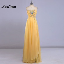 Stunning Yellow Evening Dresses Long Simple Discount Chiffon Summer Prom Dress vestido de festa vestido longo vestido curto