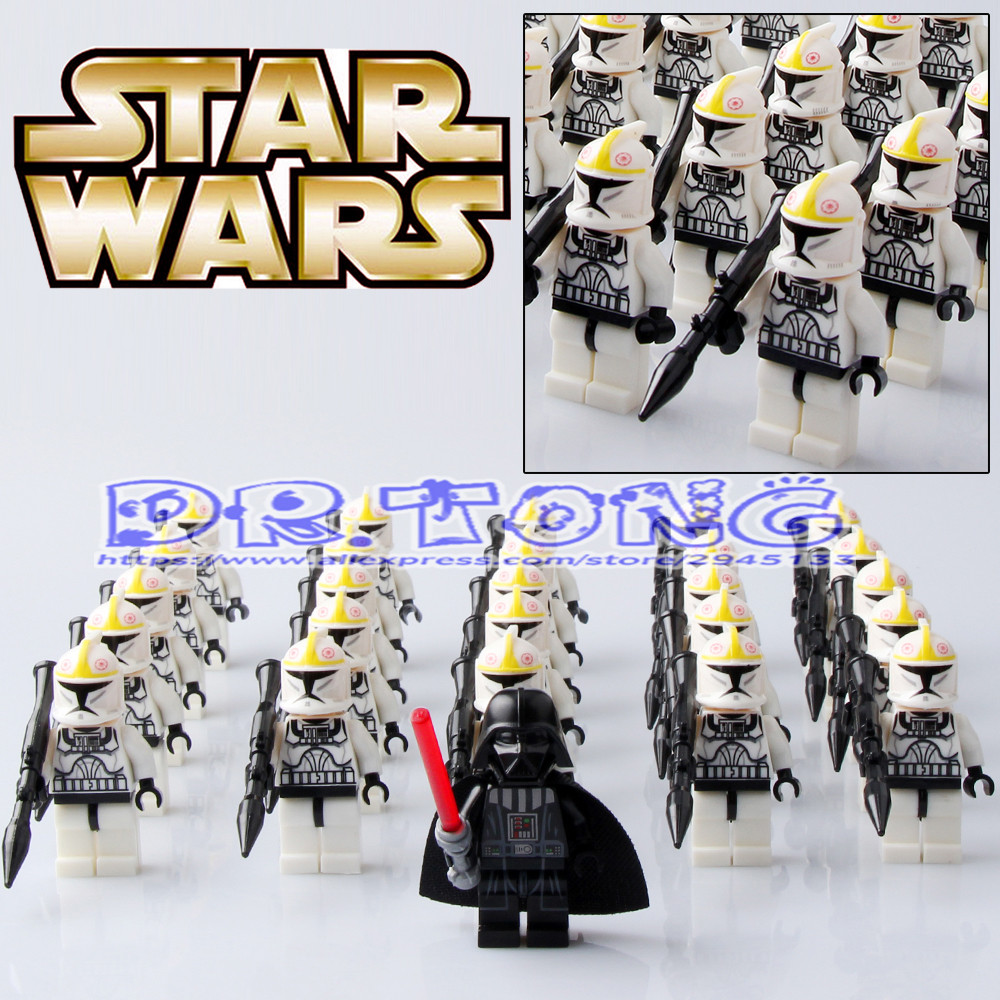 DR.TONG 26pcs/lot Star Wars VII The Force Awakens White Storm Soldier Clone Trooper with Weapon Building Blocks Bricks Toys Gift ksz star wars minifig darth vader white storm trooper general grievous figure toys building blocks
