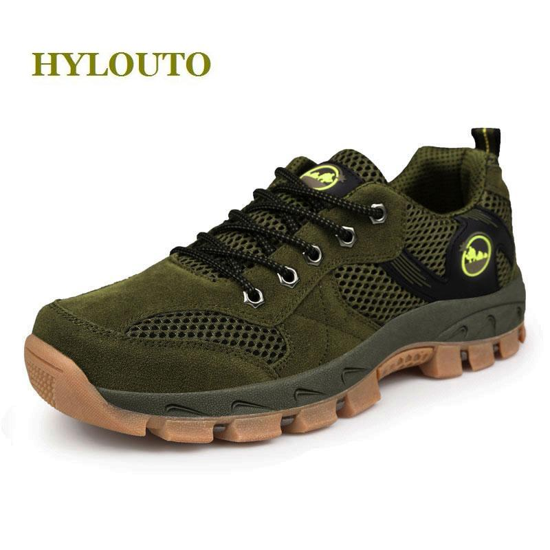 Eur size 39-48,Plus size hiking shoes mesh breathable men sneakers outdoor shoes lace up men's walking shoes,green gray color breathable lace up men outdoor hiking shoes