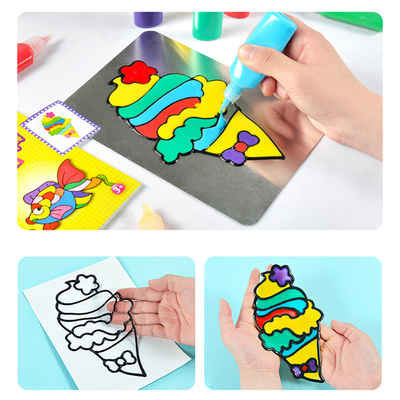 Scraping Painting Toy For Children DIY Drawing Toy Kids Cartoon Glue Tempera Painting For Kindergarten Art Craft Baby Toys Child