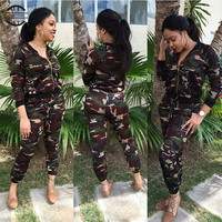 2Pieces Women Camouflage Yoga Suit Long Sleeve+ Pants Running Set With Zipper Outdoor Leisure Sport Clothing Tracksuit For Women