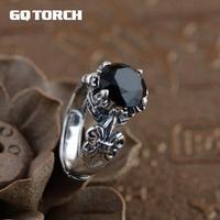 GQTORCH 925 Ayar Gümüş Siyah Oniks Taşlı Yüzükler Erkekler Ve Kadınlar Oyma Vintage Çapa Kakma Doğal Taş Açılış Tipi