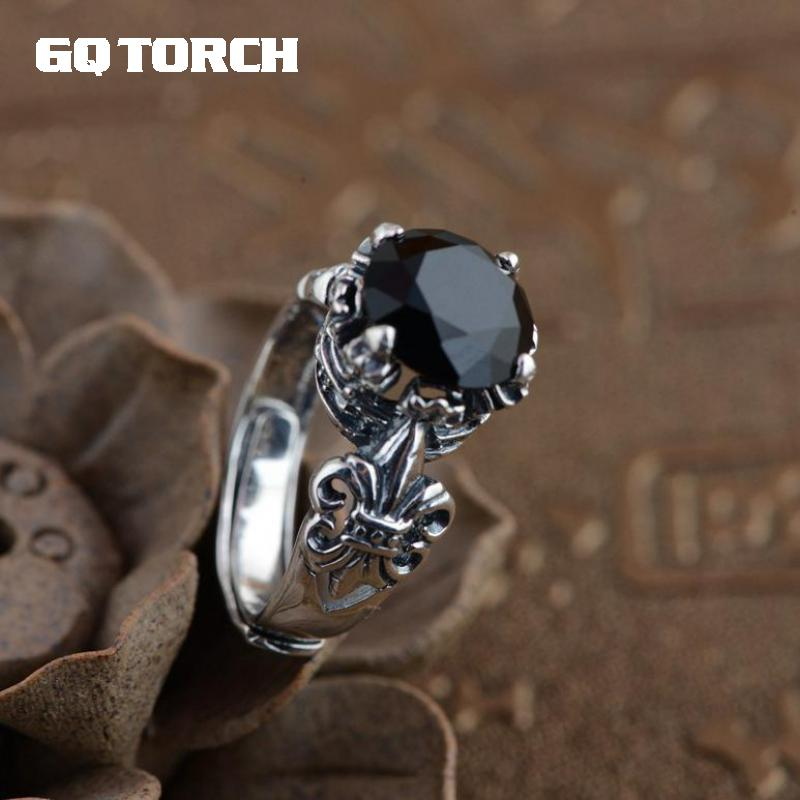 цена на GQTORCH 925 Sterling Silver Black Onyx Stone Rings For Men And Women Carving Vintage Anchor Inlaid Natural Gemstone Opening Type