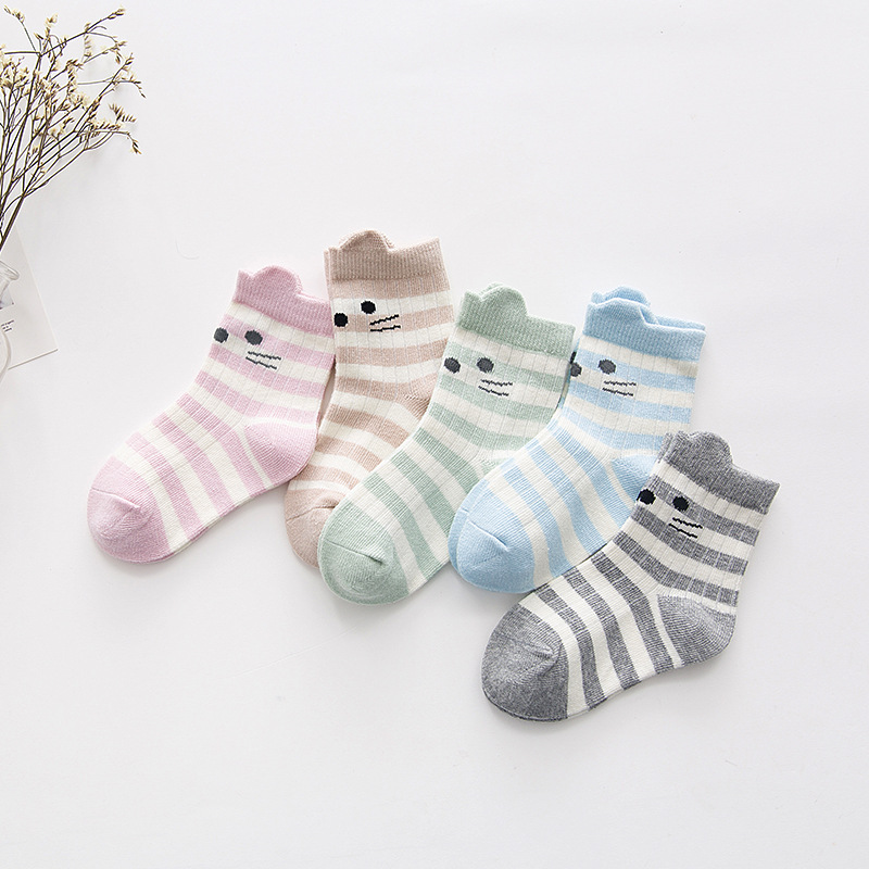 5 Pair/lot New Soft Cotton Boys Girls Socks Cute Cartoon Pattern Kids Socks For Baby Boy Girl 13 Kinds Style Suitable For 1-12Y