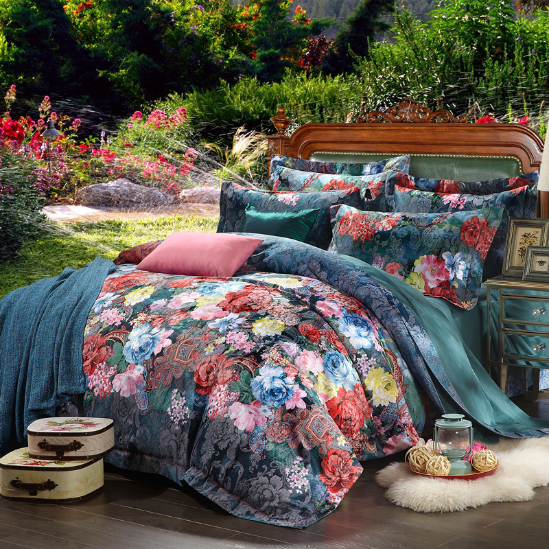 100% cotton bule jacquard floral luxury bedding sets queen king size duvet cover bed sheet set,bed set bed linen100% cotton bule jacquard floral luxury bedding sets queen king size duvet cover bed sheet set,bed set bed linen
