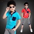 2015 estilo do verão das Crianças conjunto de roupas infantis meninos roupas camiseta letras moda impressão tira calças 2 peças set 110-160