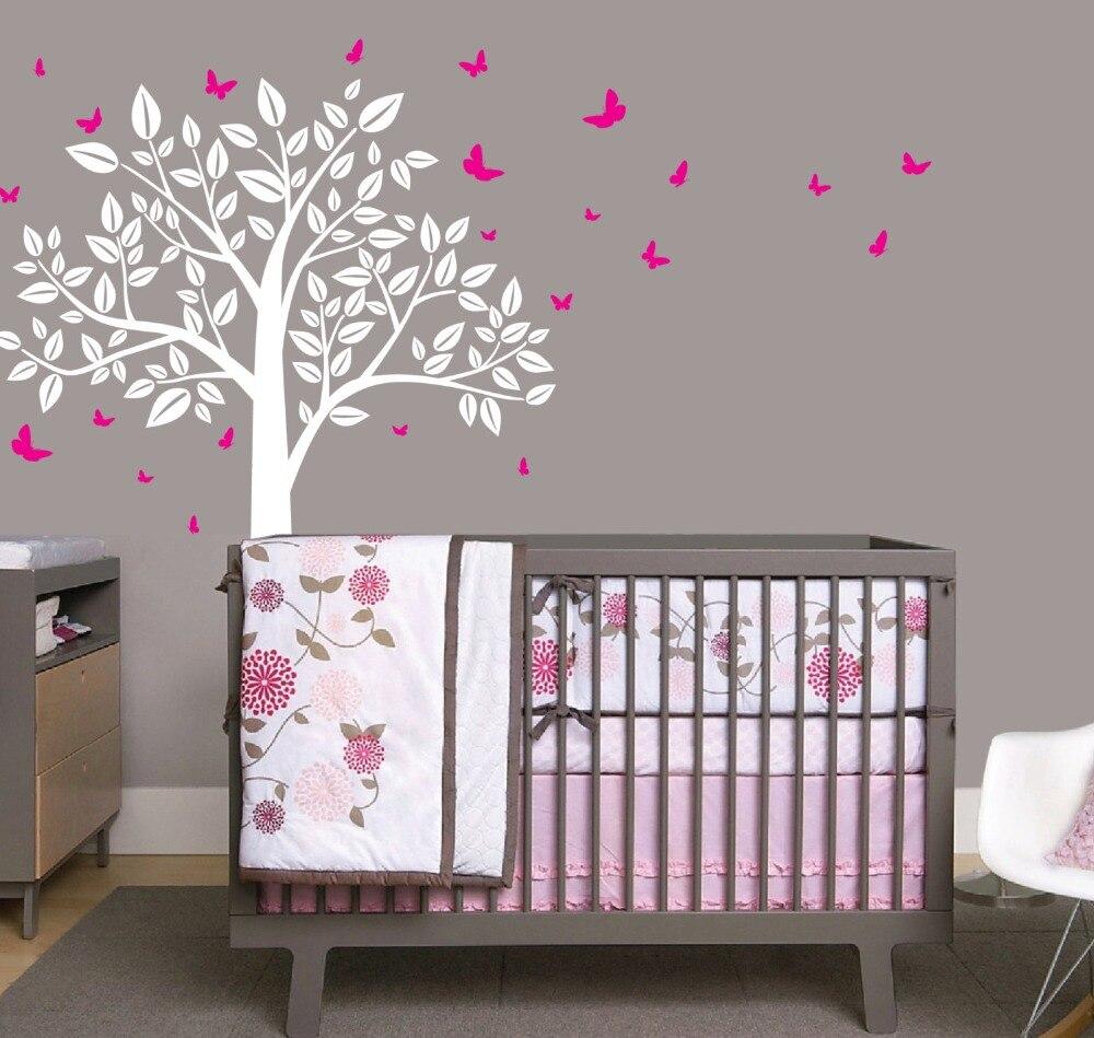 Décoration de la maison Simple arbre feuilles papillon Sticker mural bébé pépinière chambre chambre Sticker mural autocollant pépinière arbre W-18