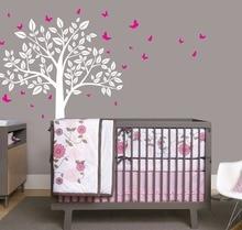 Home Decoration Simple Tree Leaves Butteryflies Wall Sticker Baby Nursery Room  Bedroom Wall Decal Sticker Nursery Tree W-18 стоимость