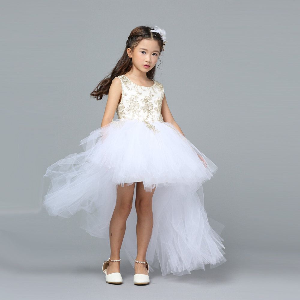 Embroidery Backless Girls Formal Dresses White Wedding Flower Girl ...