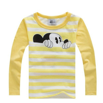 Boys T-shirt Kids Tees Baby Child Girl Cartoon Spring Children Tee Long Sleeve Stitching Cotton Animal Striped Autumn Shirt Boys T Shirts
