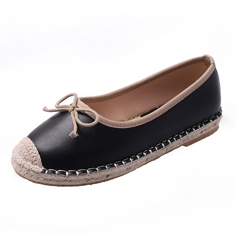 Chanvre Cuir Chaussures forme Dames Noir Patchwork Femmes Slip Mocassins Femme sur Plat Plate En Arc Sneakers Travail Casual blanc Noeud awdzqEna
