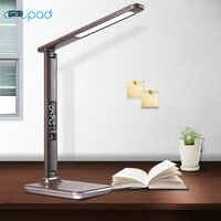 ArtPad Morden oficina puerto de carga USB de cuero de regalo de empresa plegable Touch dimmer LED lampara de mesa con reloj alarma / calendario