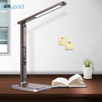Black Brown Modern Office Desk Lamp With Switch Business Gift Foldable Touch Dimmer LED Table Lamp with Alarm Clock/Calendar