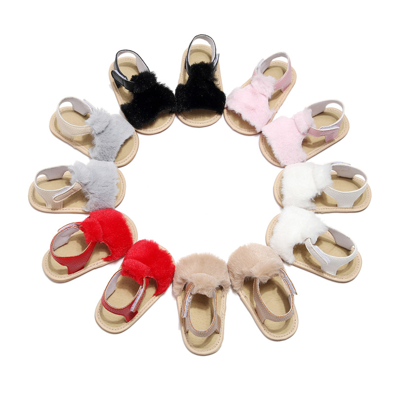 Newborn Baby Girls Soft Sole Crib Shoes Cute Fluffy Fur Summer Slippers Sandals Flat Heel