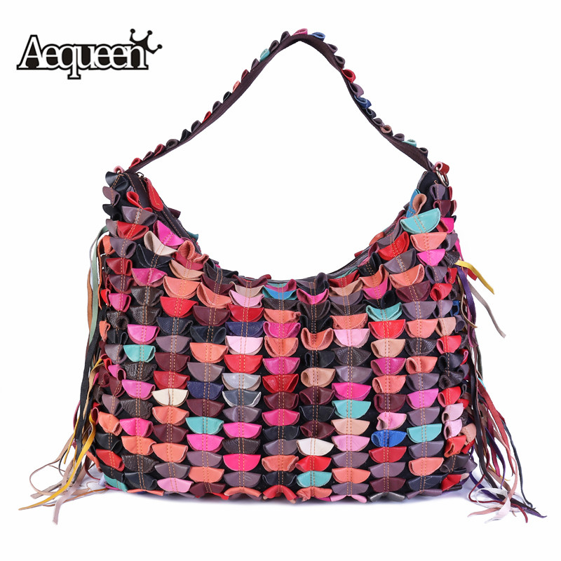 AEQUEEN Patchwork Design Handbags Female Tassel Hobos Bag Women Large Capacity Casual Totes Genuine Leather Shoulder Bags Bolsas 2018 fashion women handbags tassel knitting bags luxury brand female totes bag large capacity shoulder bags bolsas feminina sac