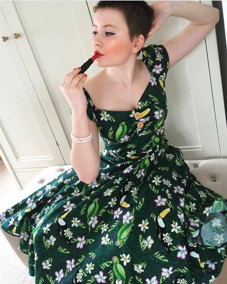 30- summer women vintage 50s tropical bird sweetheart neckline swing  dolores dress in green rockabilly 36917287b683