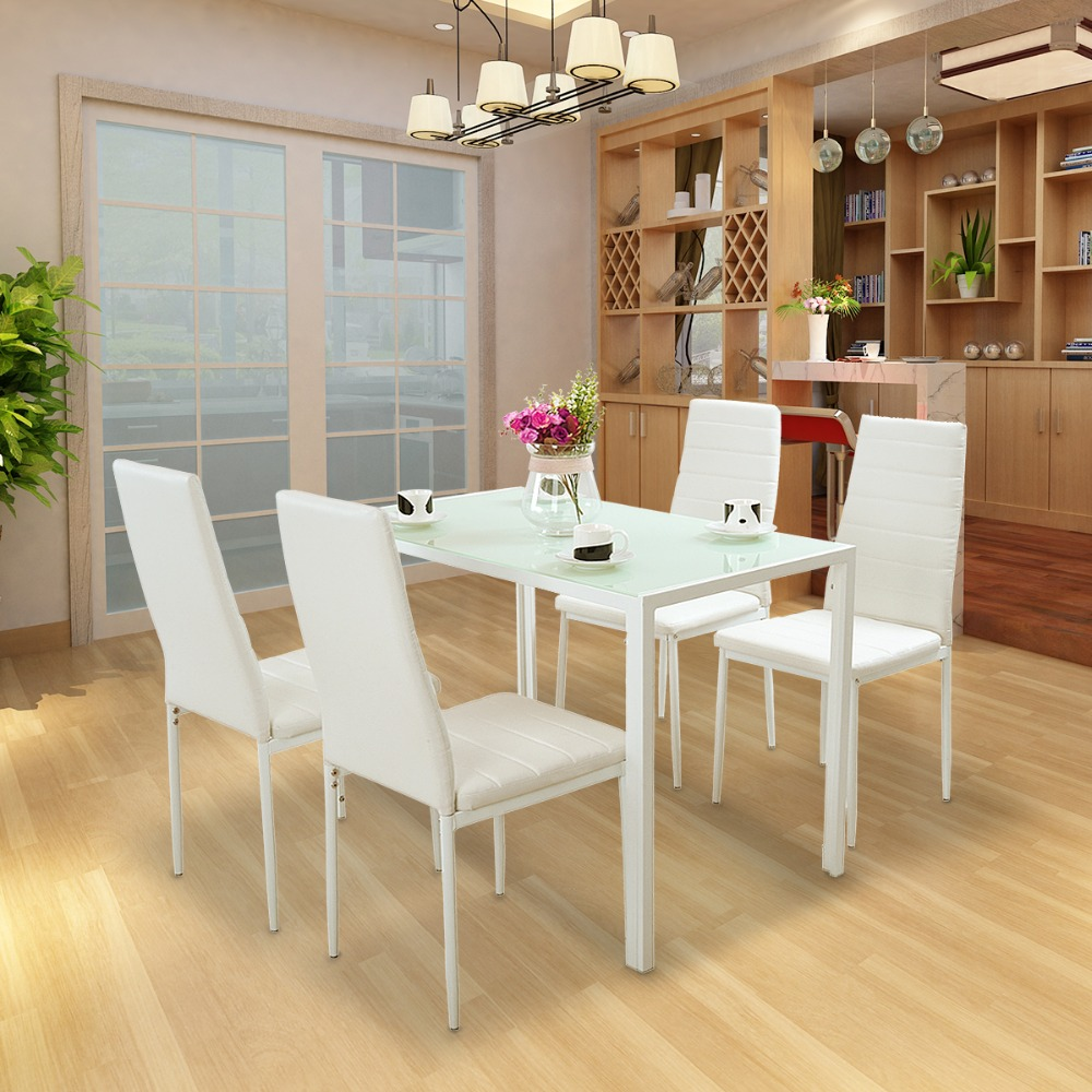 Tempered Glass Table With 4pcs/lot Faux Leather Dining Chair High Back Dining Set HOT SALE benson mills allegro faux leather placemat set of 4