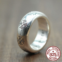 S925 sterling silver men's ring new punk personality retro style domineering six pointed star fashion boutique jewelry send love