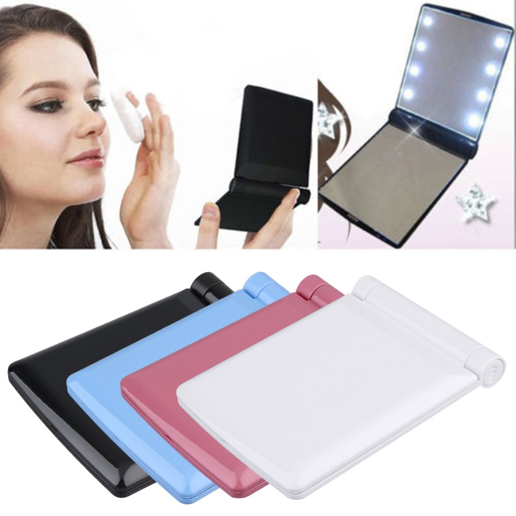 Compact Folding Magnetic Opening Portable Pocket LED Make Up Mirror Lady Cosmetic Vanity Mirror Gift Built-in LED Bulbs Mirror