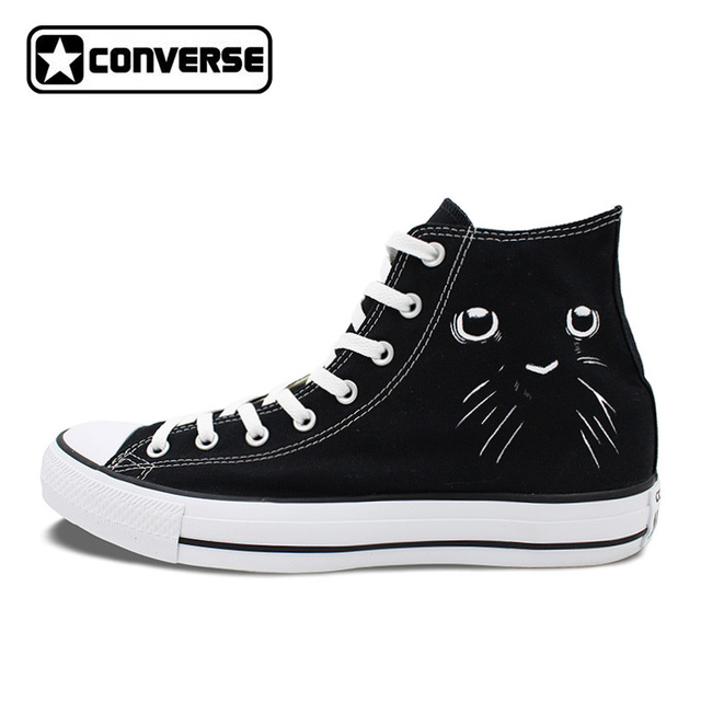 Womens Skateboarding Shoes Canvas Love Black Cats Sport Sneaker